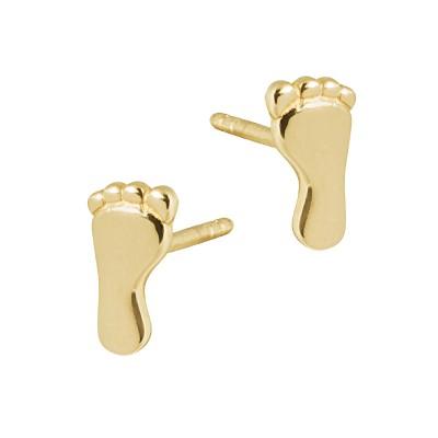 Złote kolczyki stópki Prezent Grawer GRATIS