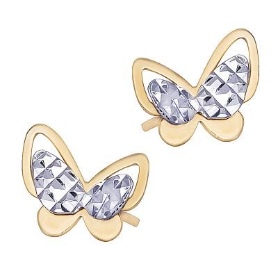 Złote kolczyki Motylki z białym złotemi Prezent Grawer GRATIS
