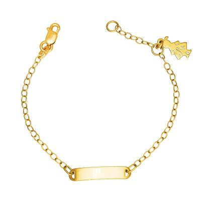 Złota bransoletka dziecięca z zawieszką w kształcie dziewczynki Prezent Grawer GRATIS