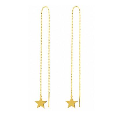 Niecodzienne przeciągane złote kolczyki z gwiazdką Prezent Grawer GRATIS