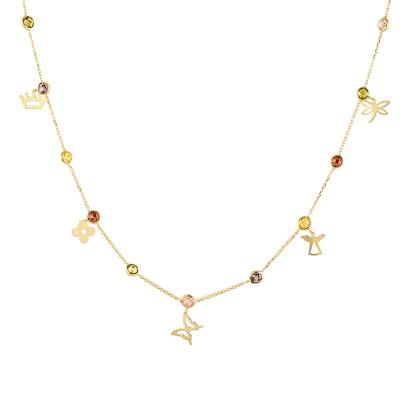 Uroczy złoty naszyjnik z kolorowymi kryształkami i ozdobnymi przywieszkami