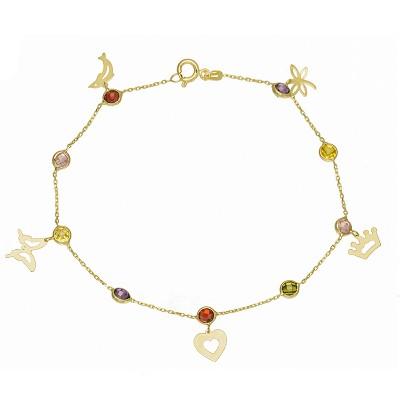 Niepowtarzalna złota bransoletka z kolorowymi cyrkoniami i zawieszkami w kształcie Delfinka, Motyla, Serduszka, Korony i Ważki Prezent Grawer GRATIS