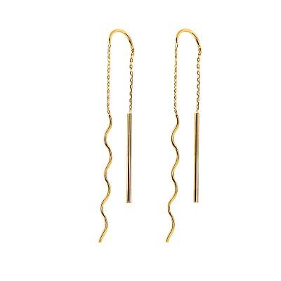 Piękne złote kolczyki przeciągane Prezent Grawer GRATIS