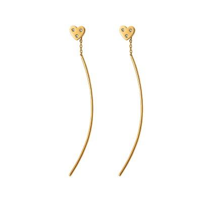 Złote kolczyki przeciągane z serduszkiem i cyrkoniami Grawer GRATIS