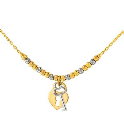 Cudowny złoty naszyjnik z serduszkiem i kluczykiem
