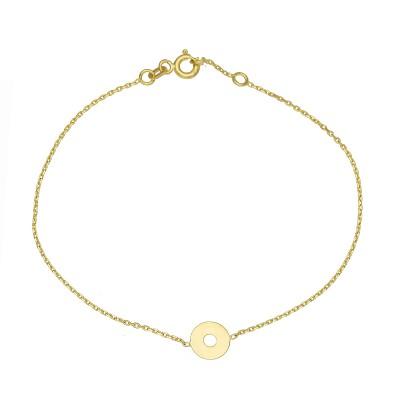 Złota bransoletka celebrytka z kółeczkiem Prezent Grawer GRATIS