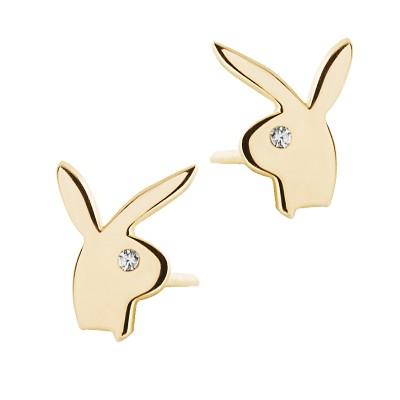 Złote kolczyki w kształcie uroczych króliczków Prezent Grawer GRATIS