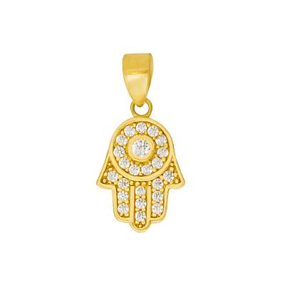 Modna złota zawieszka Ręka Fatimy ozdobiona cyrkoniami Prezent Grawer GRATIS