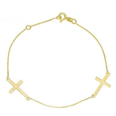 Modna złota bransoletka z dwoma krzyżykami Prezent Grawer GRATIS