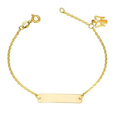 Złota bransoletka dziecięca z zawieszką w kształcie Aniołka Prezent Grawer GRATIS