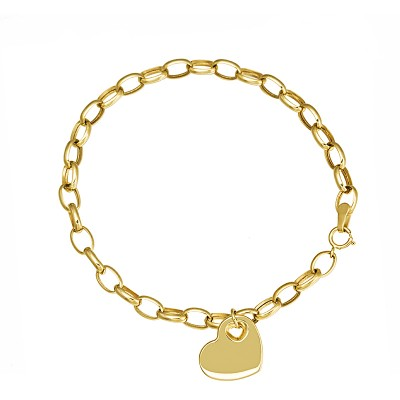 Klasyczna złota bransoletka na grubym łańcuszku ozdobiona serduszkiem Prezent Grawer GRATIS