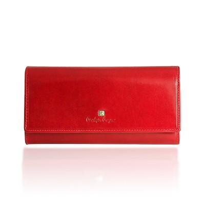 Portfel damski skórzany Christopher Creazioni czerwony z wbudowanym zabezpieczeniem kart kredytowych