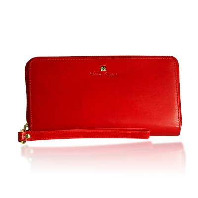 Portfel damski kopertówka skórzany Christopher Creazioni czerwony z wbudowanym zabezpieczeniem na karty kredytowe