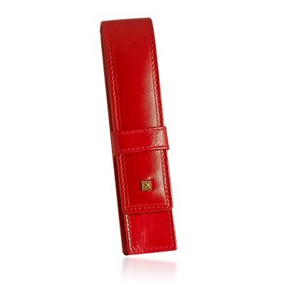 Etui na pióro długopis skórzane Christopher Creazioni czerwone
