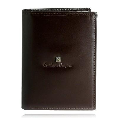 Portfel męski skórzany Christopher Creazioni ciemny brąz z wbudowanym zabezpieczeniem na karty kredytowe