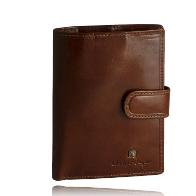 Portfel męski skórzany Christopher Creazioni brązowy z wbudowanym zabezpieczeniem na karty kredytowe