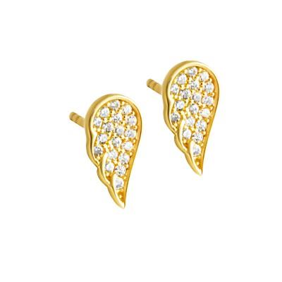 Złote kolczyki Skrzydła z cyrkoniami Grawer GRATIS