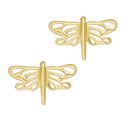 Złote kolczyki Ważka Prezent Grawer GRATIS