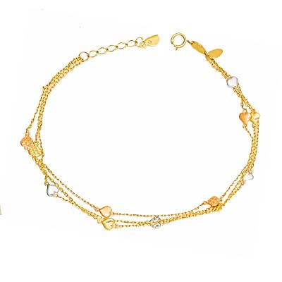 Złota bransoletka na potrójnym łańcuszku z Serduszkami Grawer GRATIS