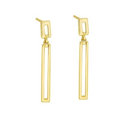 Złote kolczyki prostokąty Grawer GRATIS