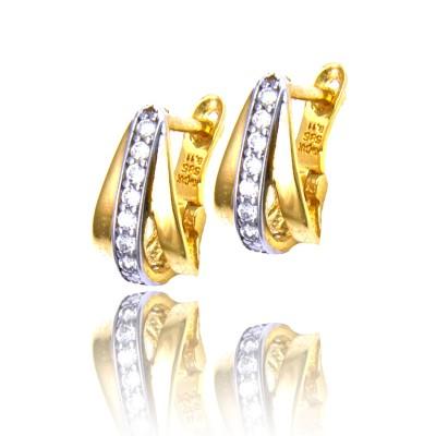 Dwukolorowe złote kolczyki z połyskującymi cyrkoniami