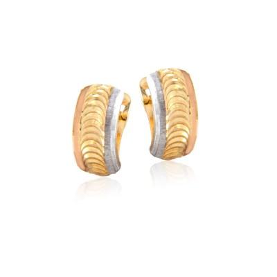 Wytworne wielobarwne złote kolczyki
