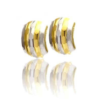 Eleganckie dwubarwne złote kolczyki