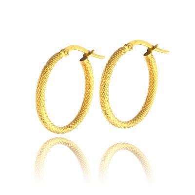 Złote kolczyki koła z wytwornym diamentowaniem