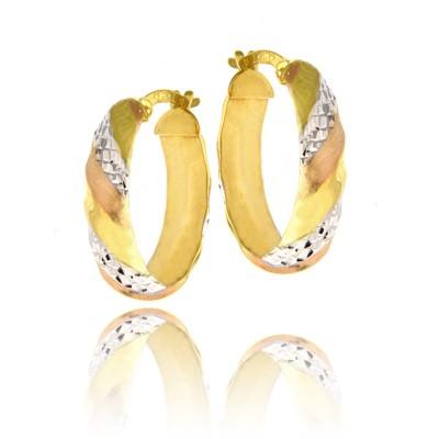 Szykowne złote kolczyki diamentowane