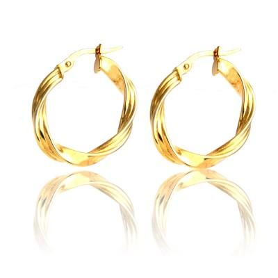 Złote kolczyki stylowe koła skręcane