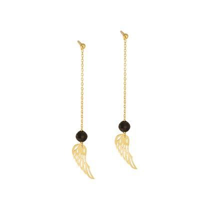 Złote kolczyki Skrzydła Grawer GRATIS