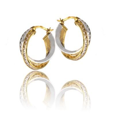 Dwukolorowe złote kolczyki kółeczka ozdobione cyrkonią