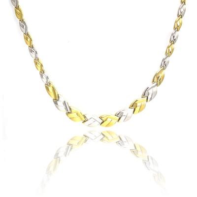 Naszyjnik złoty biało-żółty z ozdobnym matem