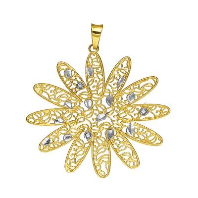 Złota zawieszka w oryginalnym kształcie ażurowego Kwiatka Prezent Grawer GRATIS