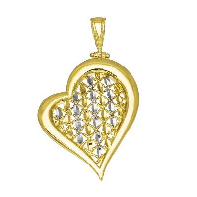 Niepowtarzalna złota zawieszka w kształcie Serca z dodatkiem białego złota Prezent Grawer GRATIS