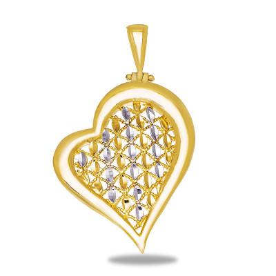 Niepowtarzalna złota zawieszka w kształcie Serca z dodatkiem białego złota