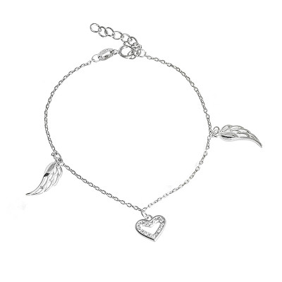 Srebrna bransoletka celebrytka wiszące serce
