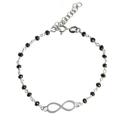 Srebrna bransoletka celebrytka krzyżyk czarne cyrkonie