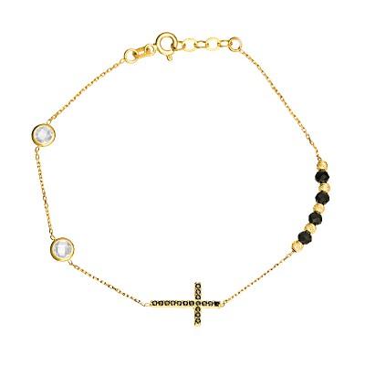 Złota bransoletka celebrytka Krzyżyk z czarnymi cyrkoniami Serduszko Grawer GRATIS