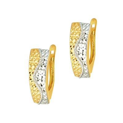 Wyraziste złote kolczyki z białym złotem Grawer GRATIS