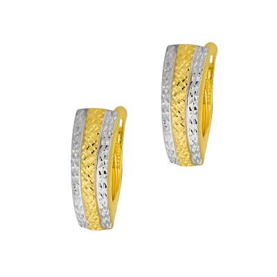 Interesujące złote kolczyki z białym złotem Grawer GRATIS
