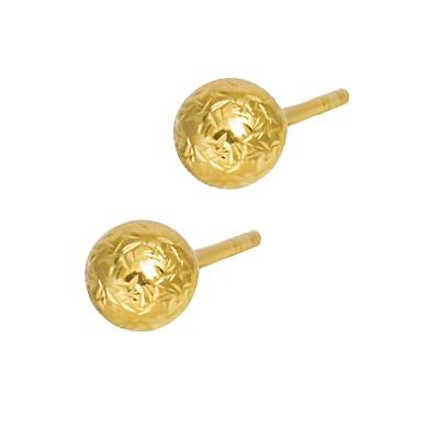 Klasyczne złote kolczyki diamentowane kulki Grawer GRATIS
