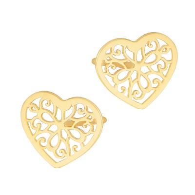 Złote ażurowe kolczyki Celebrytka Serce Prezent Grawer GRATIS