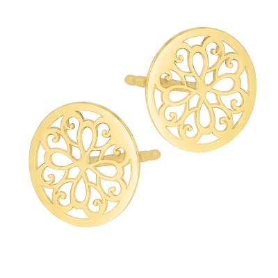 Złote ażurowe kolczyki Celebrytka kółka Prezent Grawer GRATIS