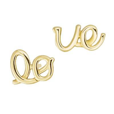 Złote kolczyki napis LOVE Prezent Grawer GRATIS
