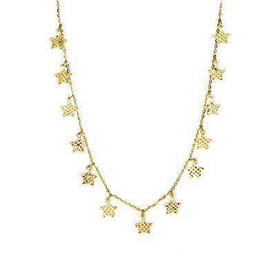 Złoty naszyjnik celebrytka z efektownymi Gwiazdkami Prezent Grawer GRATIS