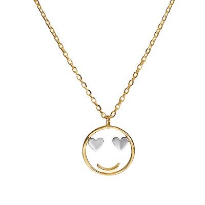 Złoty naszyjnik uśmiechnięta buźka Grawer GRATIS