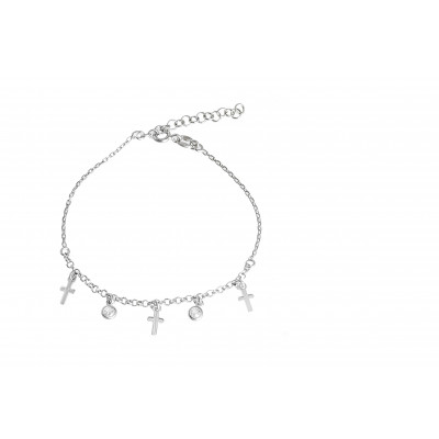 Srebrna bransoletka celebrytka wiszące krzyżyki