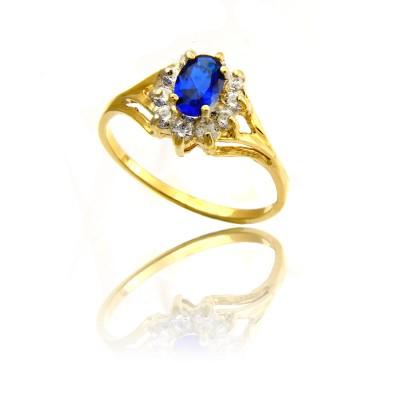 Złoty pierścionek z lśniącą szafirową cyrkonią