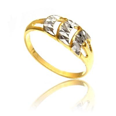 Pierścionek z białego i żółtego złota z diamentowaną powierzchnią
